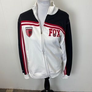 Fox White, black and Red Zip Up Jacket